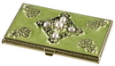 Visol Celeb Green Lacquer with Crystals Women's Business Card Case