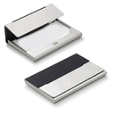 Malta Black Matte Silver Plated Business Card Case