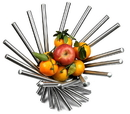 Visol Heliot Stainless Steel Modern Fruit Bowl