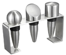 Visol Barlow Stainless Steel Wine Stoppers with Rectangular Stand