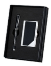 Visol Executive Pen and Business Card Set - Black and Carbon Fiber