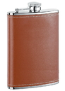 Visol Bobcat Brown Leather Stainless Steel Flask - 8 ounce