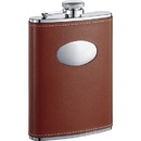 Visol Bobcat Brown Leather Stainless Steel 8oz Flask