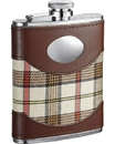 Visol Braw Plaid & Leather 6oz Hip Flask
