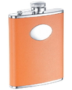 Visol Sunbeam Orange Leather Stainless Steel 6oz Hip Flask