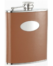 Visol Bobcat Brown Leather Stainless Steel 18oz Hip Flask