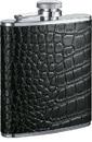 Visol Beau Monde Black Crocodile Leather Hip Flask - 6 oz