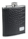 Visol Gator Black Leather and Stainless Steel Hip Flask - 6 oz