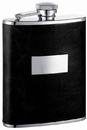 Visol Ontario Black Genuine Leather Hip Flask - 6 oz