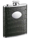 Visol Noir Black Crocodile Leather 6oz Stainless Steel Flask