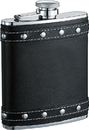 Visol Rocker Black Leather Studded Liquor flask - 6 ounce