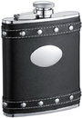 Visol Rocker Black Leather Liquor Flask With Studs - 6oz