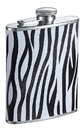 Visol Zebra Black and White Leather Liquor flask - 6 ounce