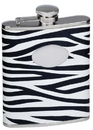 Visol Zebra Black & White Leather Stainless Steel Liquor Flask - 6oz