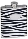 Visol Zebra Black & White Leather Stainless Steel Liquor Flask - 6oz