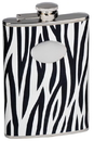 Visol Zebra Black & White Leather Stainless Steel Flask - 8oz