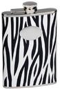 Visol Zebra Black & White Leather Stainless Steel Flask - 8oz