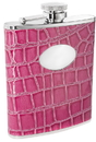 Visol Blush Pink Crocodile Leather 6oz Stainless Steel Flask - 6 oz