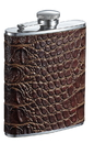 Visol Bronze Brown Crocodile Pattern Leather Liquor flask - 6 ounce