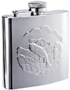 Visol Fisherman Embossed Polished Stainless Steel Flask - 6 oz