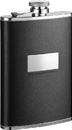 Visol Ontario Black Leather Stainless Steel Hip Flask - 8oz