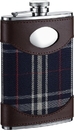 Visol Preston Leather & Navy Plaid Liquor Flask - 8 ounces