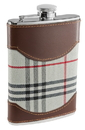 Visol Tobia Plaid and Leather Liquor Flask - 6 ounce