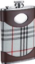 Visol Tobias Leather & White Plaid Liquor Flask - 8 ounces