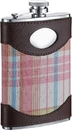 Visol Hannah Leather & Pink Plaid Liquor Flask - 8 ounces