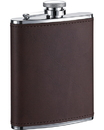 Visol Kenton 6oz Brown Leatherette Stainless Steel Hip Flask