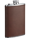 Visol Kenton 8oz Brown Leatherette Stainless Steel Hip Flask