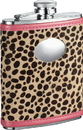 Visol Cheetah 6oz Pink Leather Stainless Steel Hip Flask