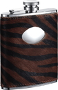 Visol Tiger Imitation Leather Stainless Steel Hip Flask - 6oz