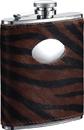 Visol Tiger Imitation Leather Stainless Steel Hip Flask - 6oz