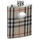 Visol Gabriella Plaid Wrapped Stainless Steel 8oz Liquor Hip Flask