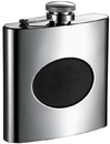Visol Romare Polished Flask with Recessed Black Engraving Plate - 6 oz