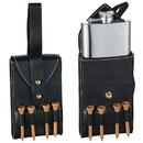 Visol Puck 4oz Hip Flask with Black Leather Wrap and Golf Tees
