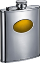 Visol Cardiff Stainless Steel Flask With Goldtone Engraving Plate - 6 oz