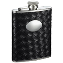 Visol Jacob Black Weave Pattern 6oz Stainless Steel Hip Flask