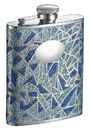 Visol Dazzle Patterned Glitter Liquor Flask with Oval Plate - 6 ounce