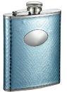 Visol Cielo Blue Snakeskin Stainless Steel Hip Flask - 6 oz