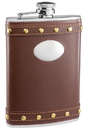 Visol Rocker Brown Leather Liquor Flask - 8 ounce