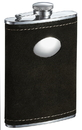 Visol Manzanillo Dark Olive Colored Suede Flask with Oval Plate - 8 ounce