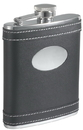 Visol Marlon Black Leather White Stitches Flask - 6 oz