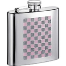 Visol Pink & Sparkles 6oz Checkered Stainless Steel Hip Flask