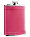 Visol Alexis Hot Pink Genuine Leather Hip Flask - 8 oz