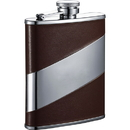 Visol Nathan Brown Leather Stainless Steel 6oz Hip Flask