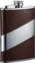 Visol Nathan Brown Leather Stainless Steel Hip Flask - 8oz