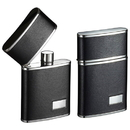 Visol Flip Top Black Leather Stainless Steel 2.5 oz. Hip Flask
