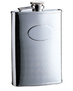Visol Cross Hatch Matte Engraved Stainless Steel 8 oz. Hip Flask